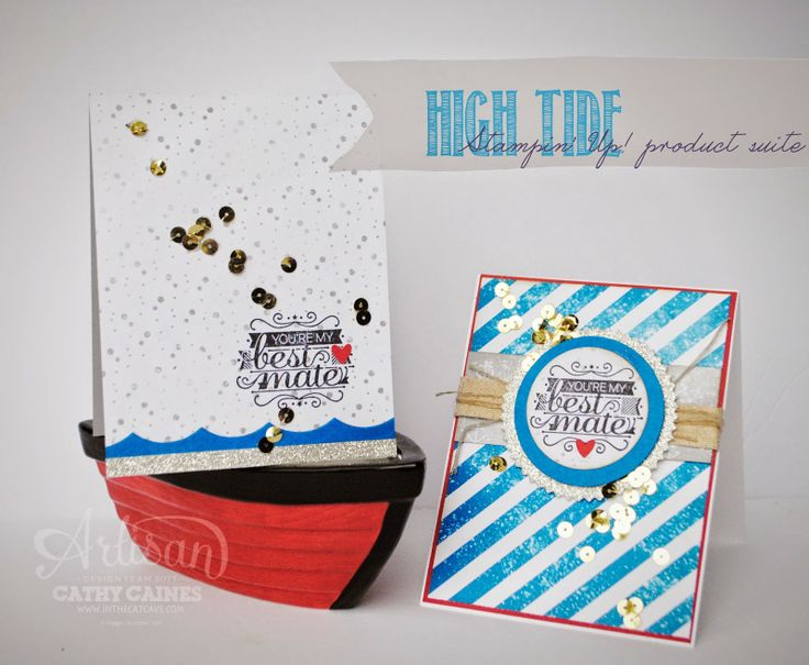 Fun cards with the High Tide Suite: Sailors Cards, Hello Sailors, Cathy Cain, Cards Gener, Boats, Stamps Sets, Cat Caves, Fun Cards, Sailors Theme
