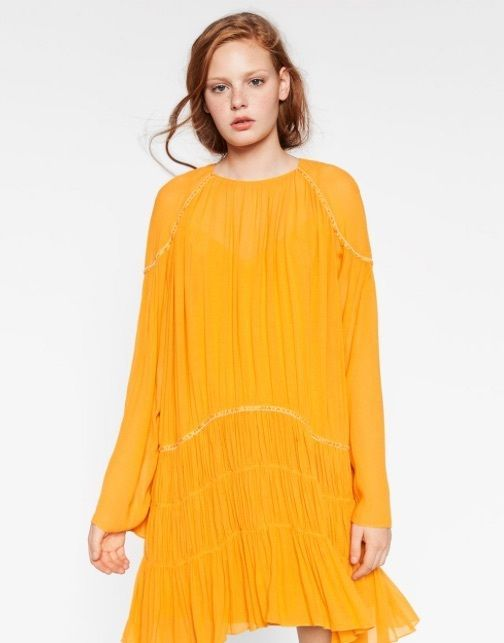 ZARA Mustard Yellow Dress With Beaded Detail BNWTGS UK S Small  8 /  10