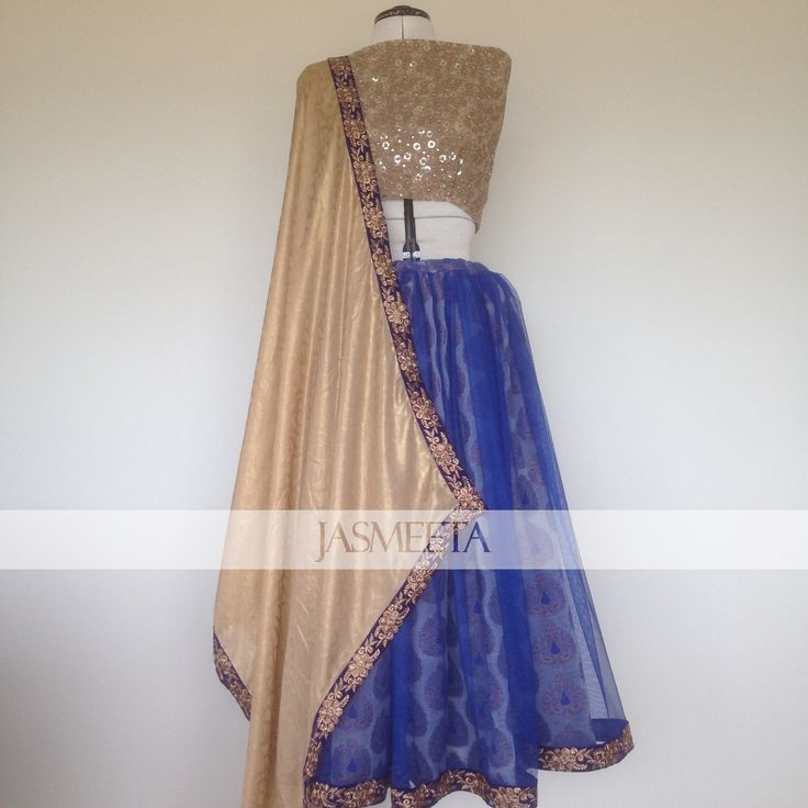 Our beautiful blue and gold lehenga custom made for a client