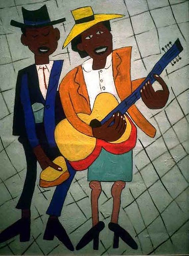 Street Musicians by William H. Johnson (1901 - 1970) Blind Singer / William H. Johnson / Screenprint w/ tempera,  ca. 1940 / Museum of Modern Art http://www.moma.org/collection/browse_results.php?object_id=82639