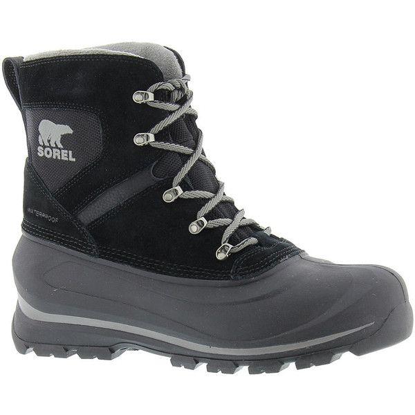 Sorel Buxton Lace Men's Black Boot ($115) ❤ liked on Polyvore featuring men's fashion, men's shoes, men's boots, black, mens shoes, mens lace up boots, sorel mens boots, mens black lace up boots and mens black lace up shoes