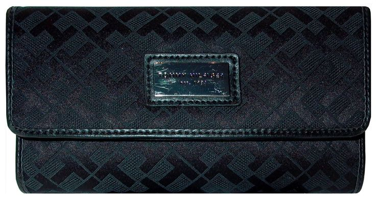 Tommy Hilfiger Womens Wallet. 2 Piece Set=1 Wallet and 1 Checkbook Cover Description: The Tommy Hilfiger designer wallet will look great with your purse or carried alone. The exterior is black with TH logo monogram print. It measures 7 1/2 inches by approximately 4 inches. The interior contains 8 credit card slots, a clear window for your ID, a pocket for your checkbook, a duplicate check flap and larger pockets for cash. The back of the wallet also has a zipper pocket for change…