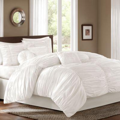 Sidney Comforter Set in White - BedBathandBeyond.com