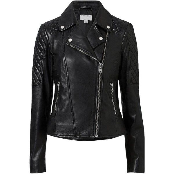 Witchery Leather Biker Jacket (26.805 RUB) ❤ liked on Polyvore featuring outerwear, jackets, slim jacket, slim leather jacket, stitch jacket, leather motorcycle jacket and biker jackets