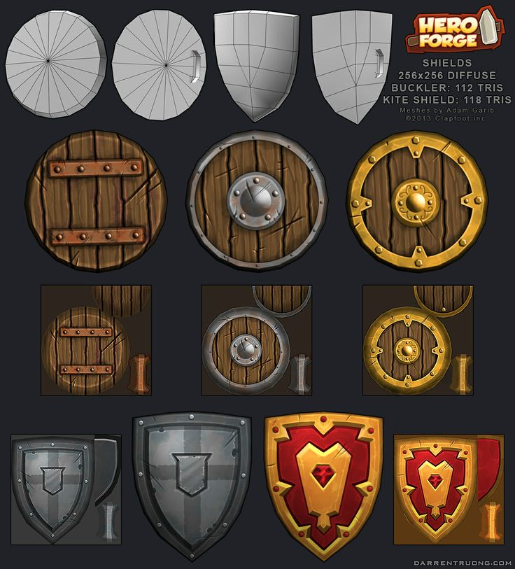 Low Poly Hand Painted Shields