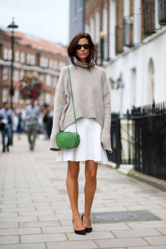Oversized sweater, white skirt, green purse, style, outfit, fashion