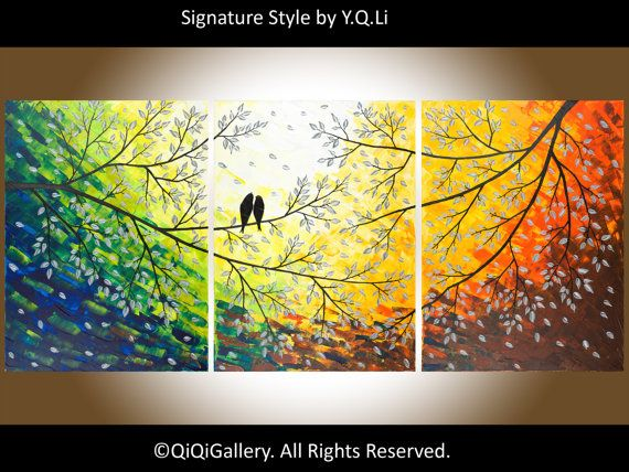 Original 54 Large Abstract Painting Landscape and Scenic Painting Palette Knife Impasto Tree Painting Love Birds Painting Twilight via Etsy