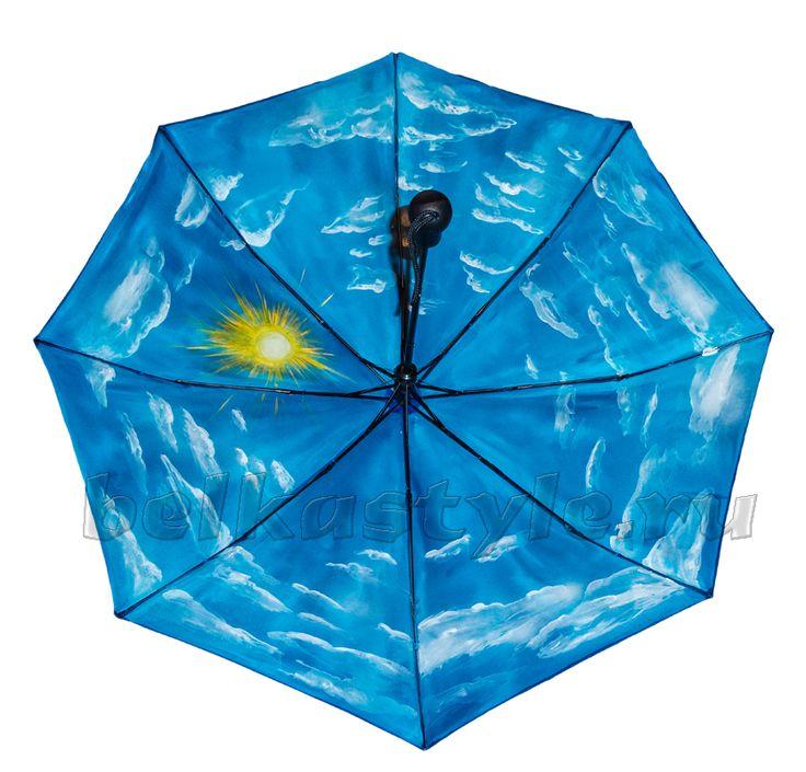 Зонт Небо купить в Санкт-Петербурге #зонт #зонтик #umbrella #parasol #design #спб #россия #роспись #хендмейд #handmade #рисунок #drawing #draw #style #styling #складной #дизайнерский #заказ #крутой #черный #дождь #прикольный #подарок
