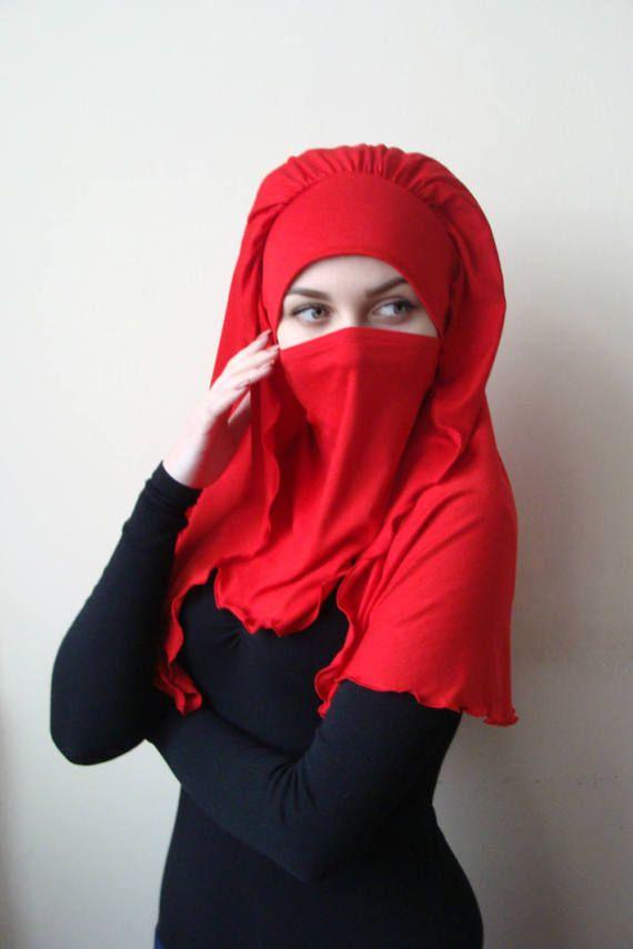 Transformer voluminous red barbe hijab niqab transformer red