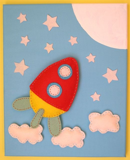 Idea for rocket shape puzzle. Zoom zoom zoom we're going to the moon. Felt book page.