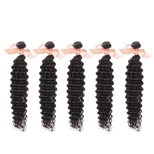 Malaysian Hair Deep Wave Virgin Hair Extensions 5 Bundles Unprocessed Human Hair Weaves 12 Inch To 26 Inch Natural Black 500g