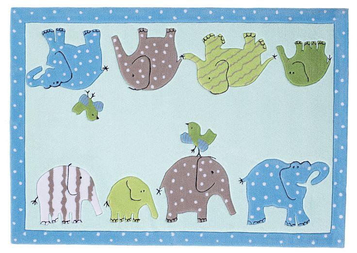 Contemporary Kids Rug Designers Guild #Elephant #blue #pink