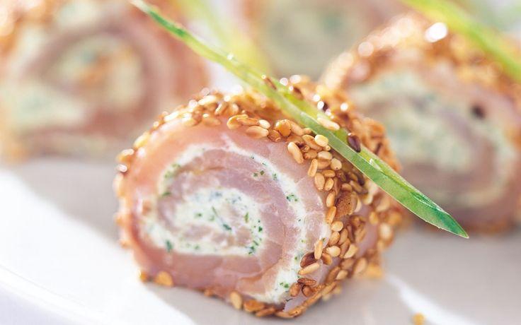 Annorlunda och jättegod förrätt, eller tilltugg, med lax som får karaktär och sting av wasabi, japansk pepparrot.