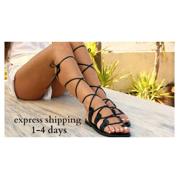 Amazona 2 Leather Gladiator Sandals Ancient Greek Sandals Lace Up... (575 ZAR) ❤ liked on Polyvore featuring shoes, sandals, black, gladiator & strappy sandals, women's shoes, long gladiator sandals, summer sandals, black summer sandals, lace-up gladiator sandals and black sandals