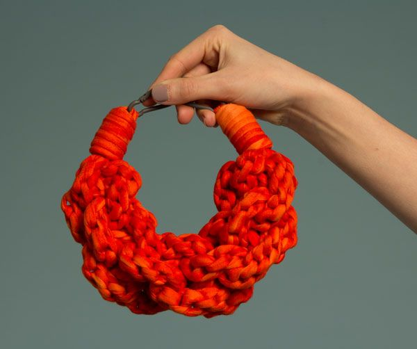 'Chunk and Loop' necklace in hand dyed cotton - Michaela Murrain, De Montfort University, Leicester