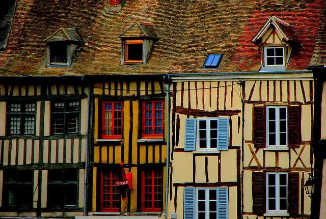 Colourful houses in Vernon, Haute-Normandie.