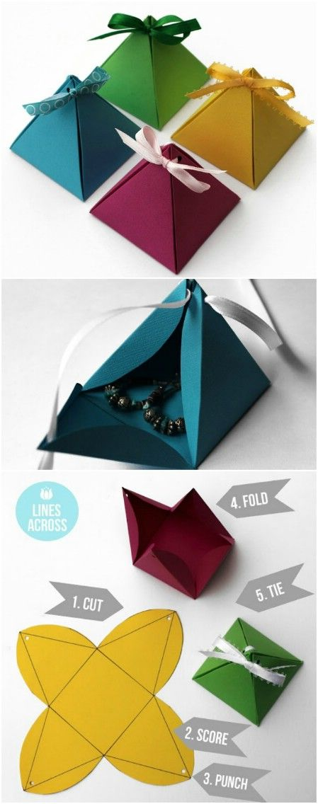 Origami pyramid gift boxes -- Would really like to try this. The pattern doesn't look to difficult & tired of the bags and regular wrapping paper......
