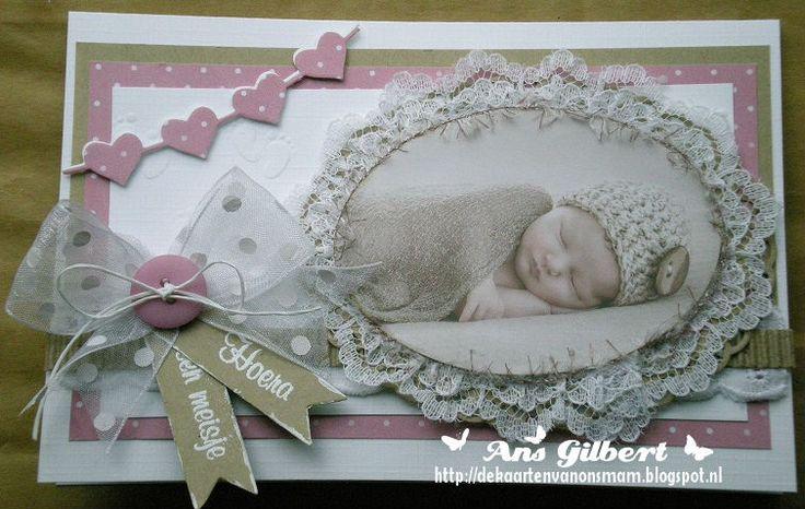 Hallo Allemaal,   Vandaag 2 babykaartjes, de eerste is voor Jeanet die voor de 2de keer Oma werd van een prachtige kleindochter Saar...Ze h...
