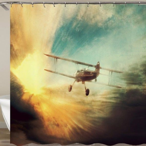 Airplane Shower Curtain Plane Waterproof Bath Curtains With Hooks In 2020 Birthday Cards For Him Birthday Greetings For Men Birthday For Him