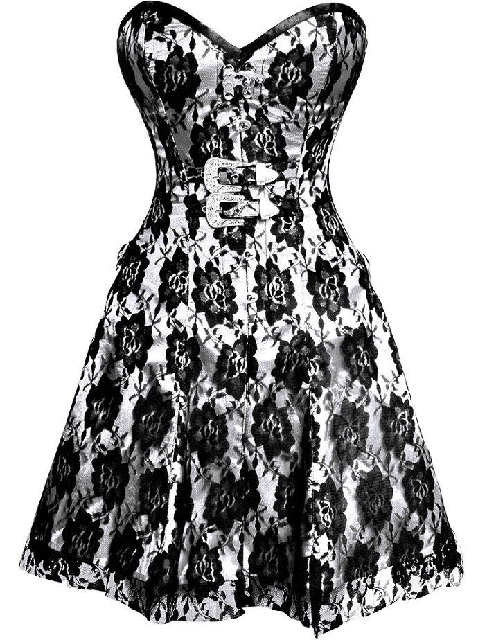 The Violet Vixen - Black Rose on White Corset Dress, $146.00 (http://thevioletvixen.com/clothing/black-rose-on-white-corset-dress/)