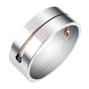 Men's Stainless Steel 8mm Band Ring with Cubic Zirconia
