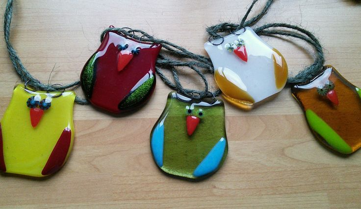 Owl bunting, glass fused bunting, summer glass owls, colourful glass owl bunting by WhimsicalFusing on Etsy
