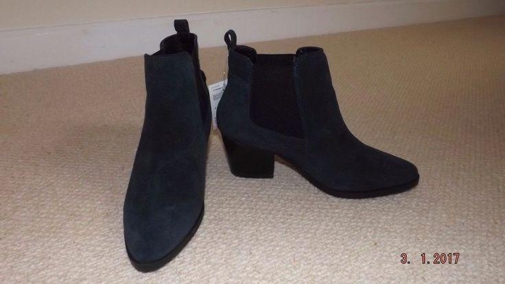 Marks & Spencer Chelsea navy suede ankle boot block heel