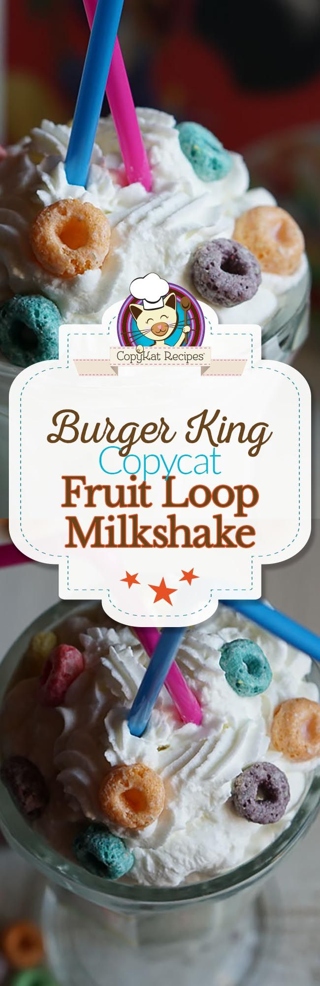 Make your own copycat Burger King Fruit Loop Milkshake at home with this easy copycat recipe.