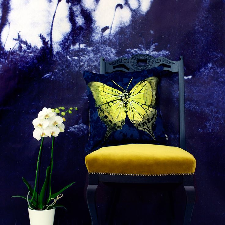 Yellow Butterfly Cushion - Terrariumdesigns.co.uk - homeware, colour, pattern, botanical, nature, moody interiors