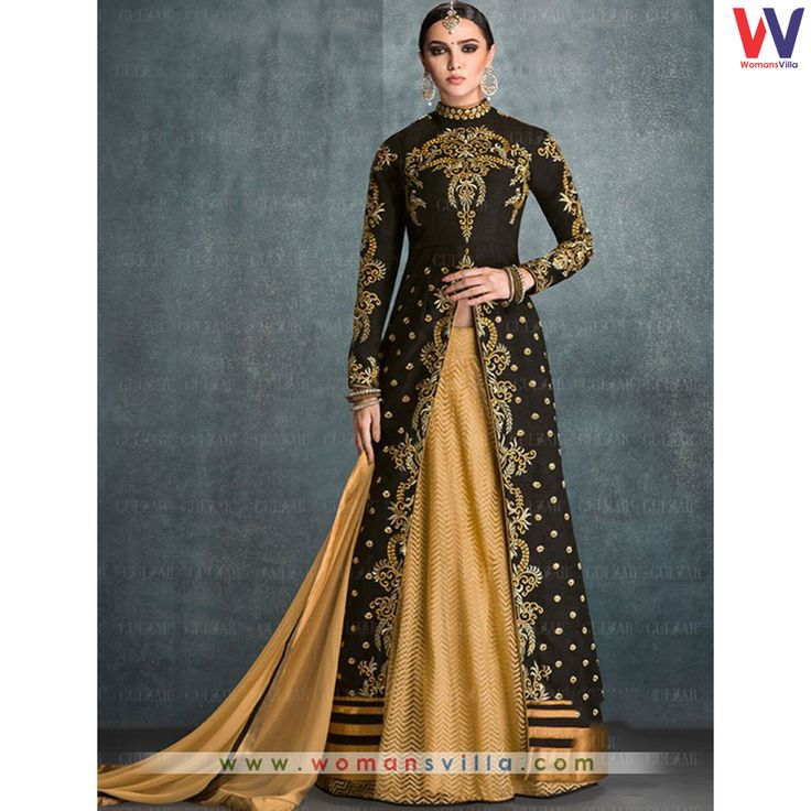 Charismatic Black And Beige Colored Silk Indo Western Salwar Suit#Womansvilla