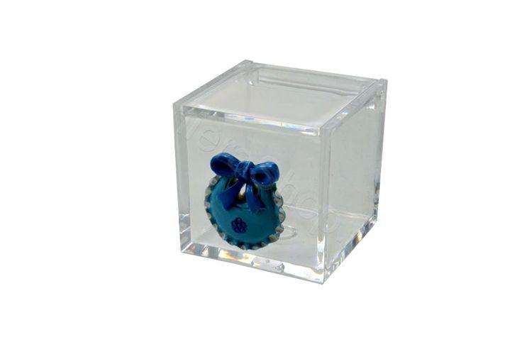 Cubo in plexiglass con applicazione biberon e bavaglio in resina celeste per il fai da te della bomboniera (LS)