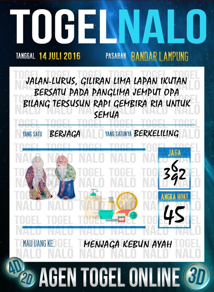 Prediksi Togel Online Live Draw 4D TogelNalo Bandar Lampung 14 Juli 2016