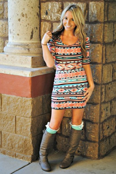MADE YOU LOOK MINT AZTEC DRESS. decadence boutique