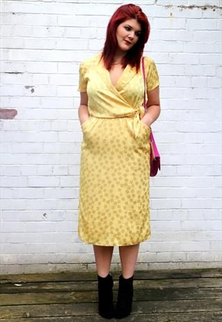 1970s silky yellow polka dot dress