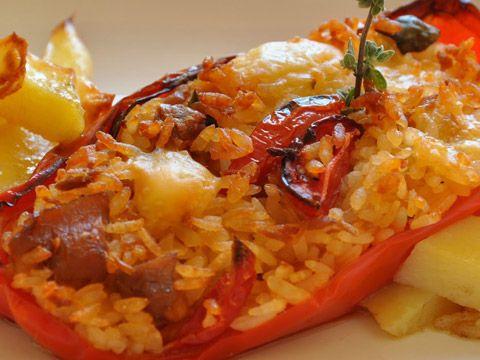 Peperoni ripieni di riso al forno - Ricetta L'Oro in Tavola