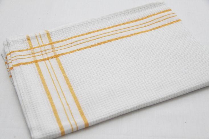 Bawełniane białe ścierki kuchenne z żółtym motywem