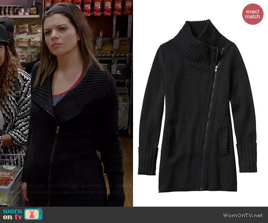 Annie's black ribbed collar jacket on Marry Me.  Outfit Details: http://wornontv.net/42007/ #MarryMe