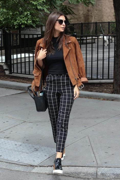 The best celeb style of the week...WHO: Emily Ratajkowski WORE: Obey jacket, Topshop pants, Stella McCartney wedges, Céline purse  WHERE: In New York City