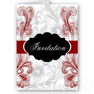 mod red wedding Invitation cards