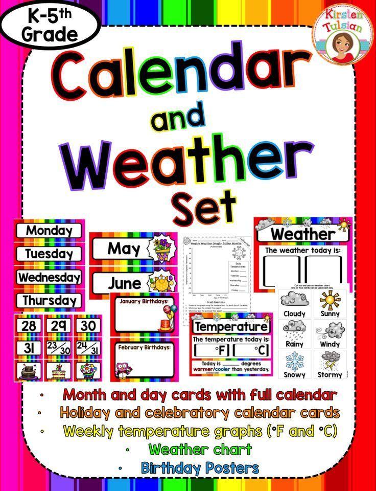 Classroom Calendar Display : Calendar and weather set bright rainbow theme