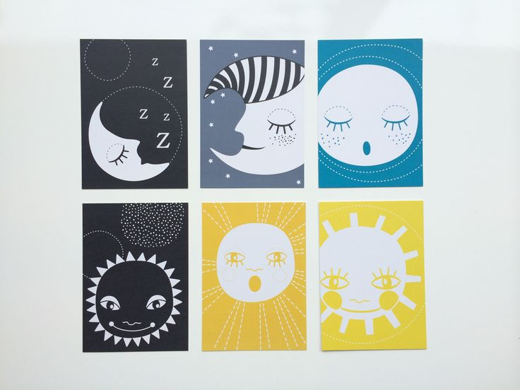 Mini Zoo postkort med sol og måne 6 stks. #illustration#minizoo#børneværelse#grafisk#postkort