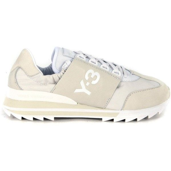 Y-3 Sneakers ($245) ❤ liked on Polyvore featuring shoes, sneakers, bianco, sport shoes, sports trainer, beige sneakers, sport sneakers and sports shoes