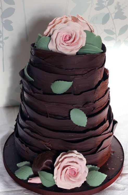 Brown Chocolate Wedding Cake with Leaves and Roses
