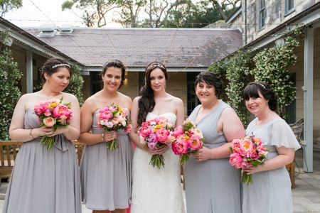 Gorgeous bouquets for Clair and Willis. Gunners Barracks, Mosman.