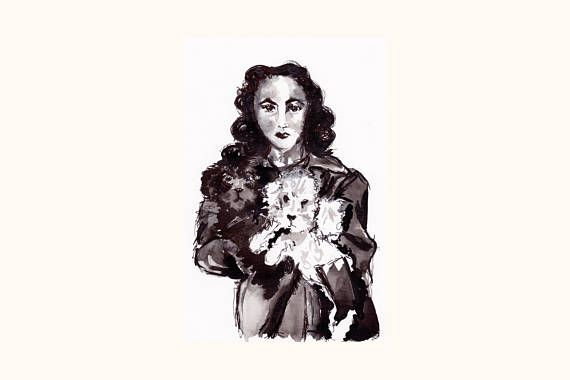 Elizabeth Taylor Vintage original artwork  #art #elizabethtaylor #poodle #poodlelove #dog #doglovers #creature #originalart #ink #inkdrawing #love #hollywood #vintage #vintagestyle