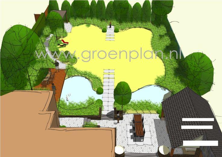 Bij een monumentale villa ligt een klassieke tuin in aansluiting op de ...