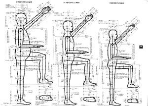 Anthropometrics is the data which concerns the dimensions of human beings.    Designers need to makes sure that the products they design are the right size for the user and therefore comfortable to use. Designers have access to books of drawings like these which state measurements of human beings of all sizes.