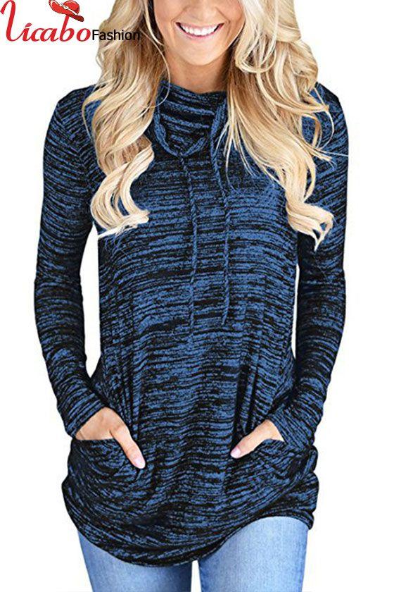 Womens Cowl Neck Pocket Sweatshirt Long Sleeve Pullover Blouse Top Sweater  Shirt  b8394a81e
