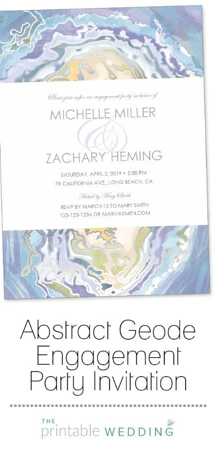 Perfect for an outdoor or rustic themed engagement party, this agate stone invitation is abstract but beautiful. It creates an elegant nature theme for your engagement celebration and can be customized and printed within just a few minutes! | Abstract Geode Engagement Party Invitation from #ThePrintableWedding