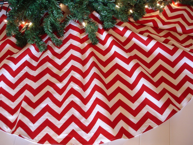 "Red Chevron Christmas Tree Skirt, Red and White Tree Skirt, Christmas, Modern Tree Skirt, 30"" Diameter. $35.00, via Etsy."